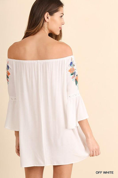 Off the shoulder bell sleeve floral embroidery sundress - white