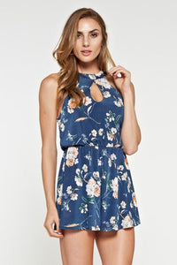 Blue Sleeveless Floral Romper