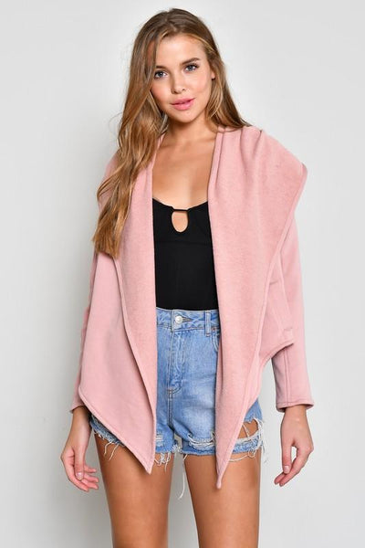 Pink Hooded Terry Cloth Jacket - NIKNIK'S BOUTIQUE