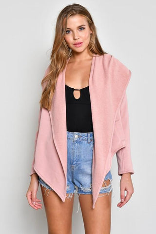 Pink Hooded Terry Cloth Jacket