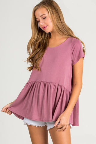Mauve Pink Short Sleeve Peplum Top - NIKNIK'S BOUTIQUE
