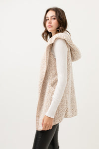 soft textured open front hooded with pockets vest-tan