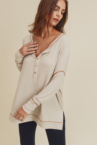 Long sleeve loose fit side slits v neck henley top - oatmeal