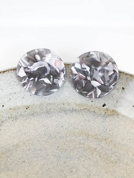 Grey Tortoise Circular Stud Earrings