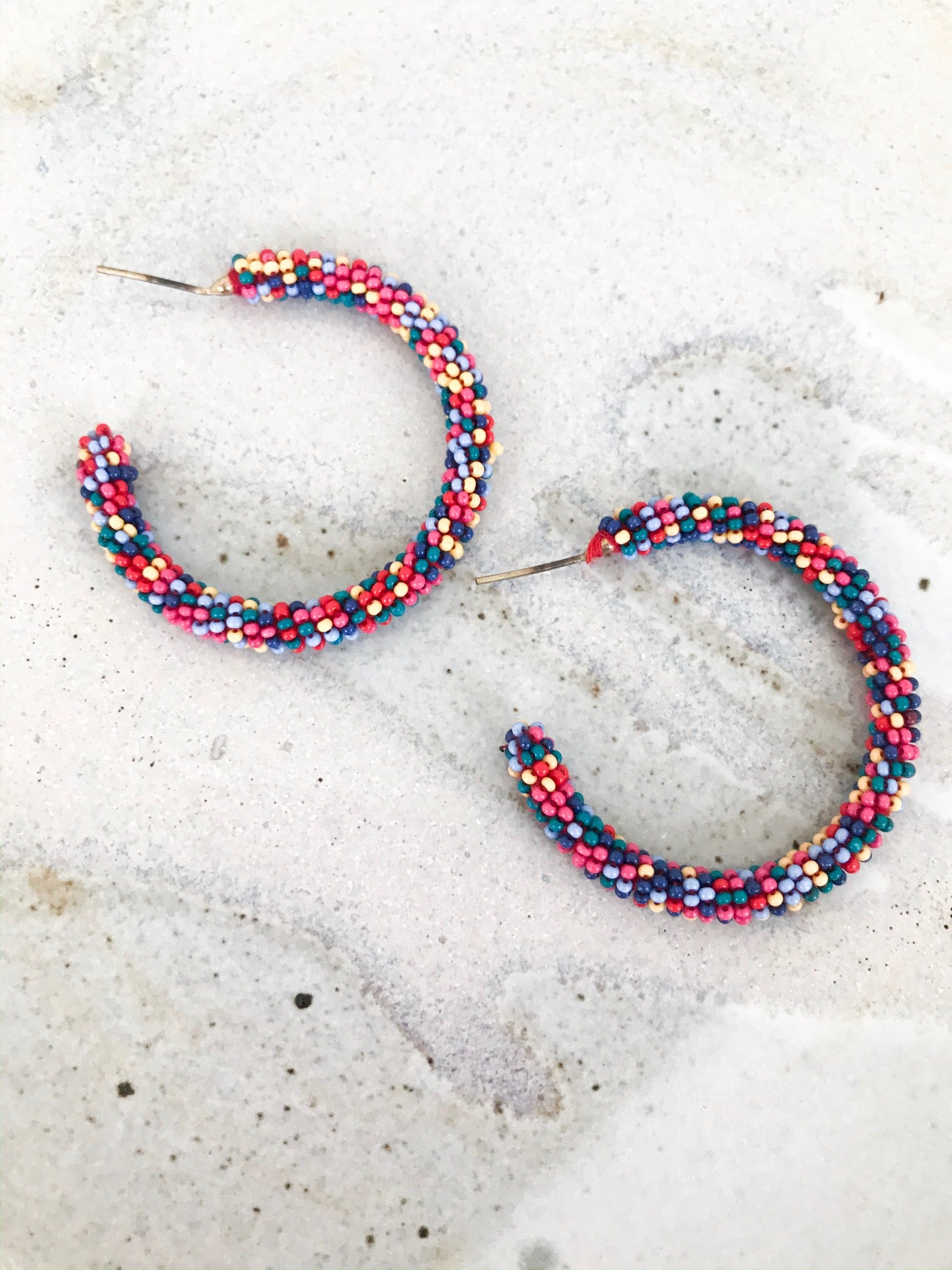Rainbow bead lightweight stud hoop earrings