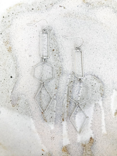 Silver Tiered Dangle Earrings - NIKNIK'S BOUTIQUE