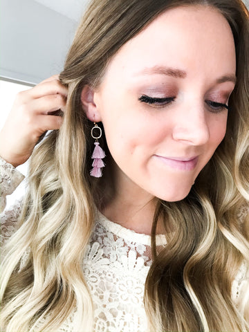 Gold and Mauve Triple Tassel Earrings - NIKNIK'S BOUTIQUE