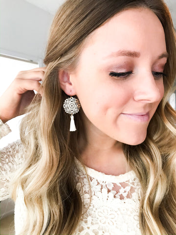 Gold Filigree Tassel Earrings