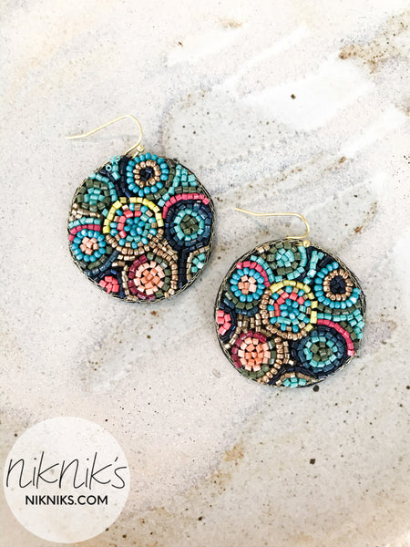 round beaded earrings