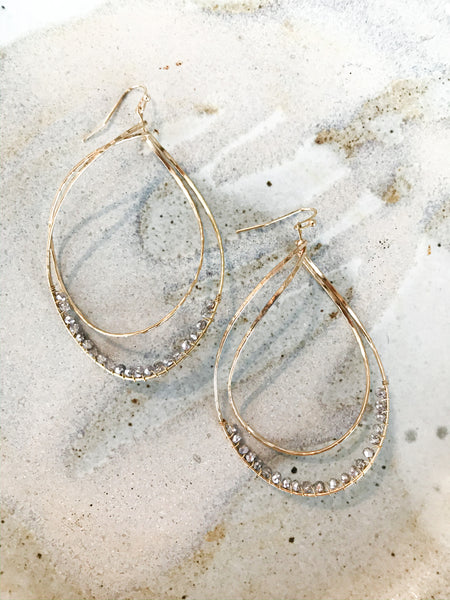 Gold Beaded Teardrop Dangle Earrings