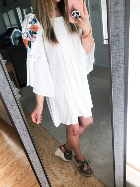White Embroidered Off The Shoulder Dress - NIKNIK'S BOUTIQUE