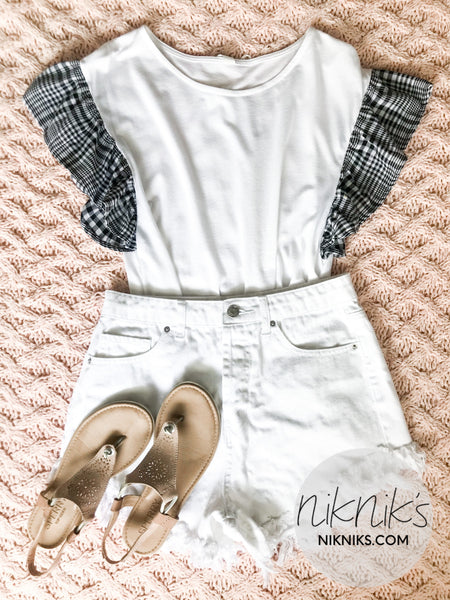 Gingham Sleeve White Tee Shirt - NIKNIK'S BOUTIQUE