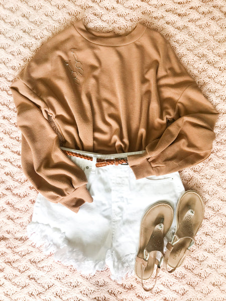 Camel Long Bubble Sleeve Top