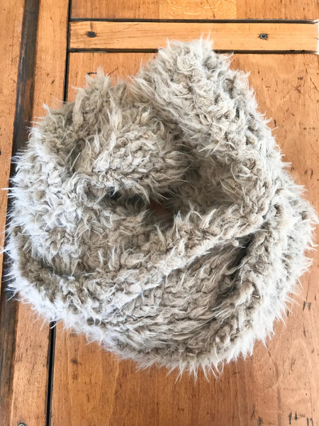 Brown Shaggy sherpa Infinity Scarf