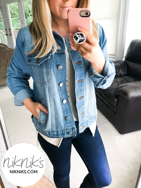 denim jacket fall transition outfit