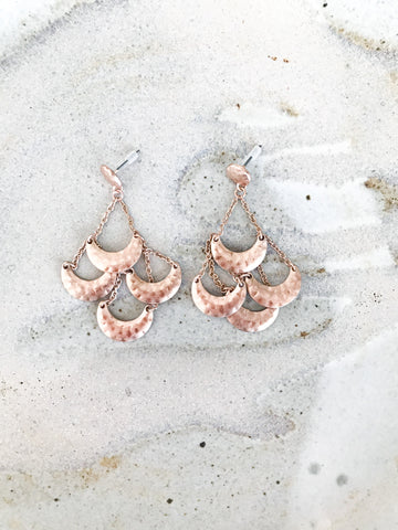 Rose Gold Tiered Dangle Earrings