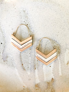 gold and silver chevron earrings
