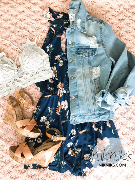 High Neck Sleeveless Floral Romper
