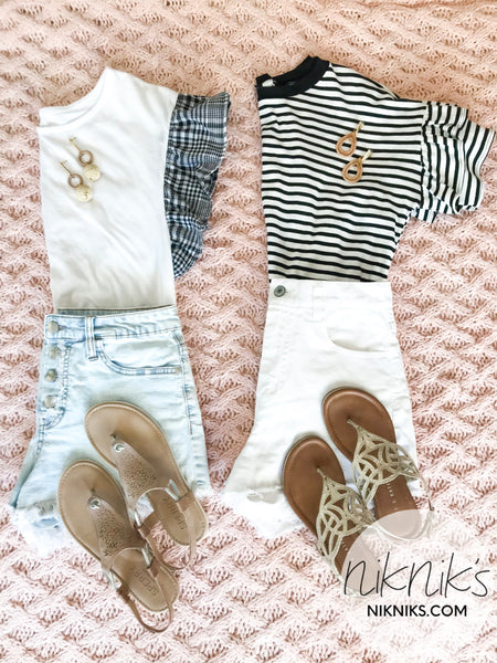 black and white casual summer tops