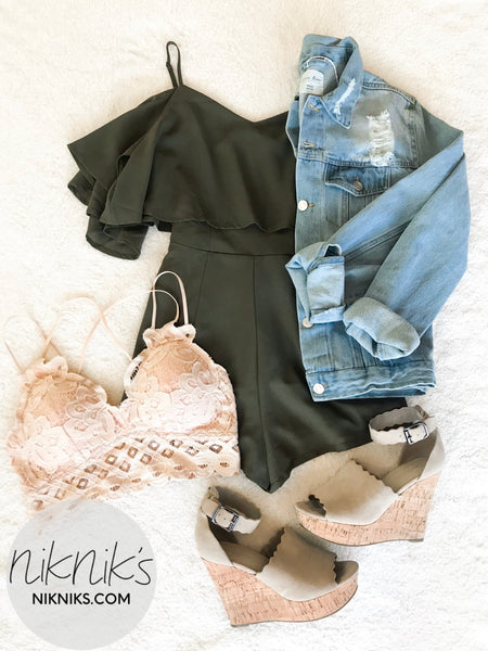 Olive Off The Shoulder Romper - NIKNIK'S BOUTIQUE