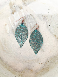 Turquoise metal leaf dangle earrings