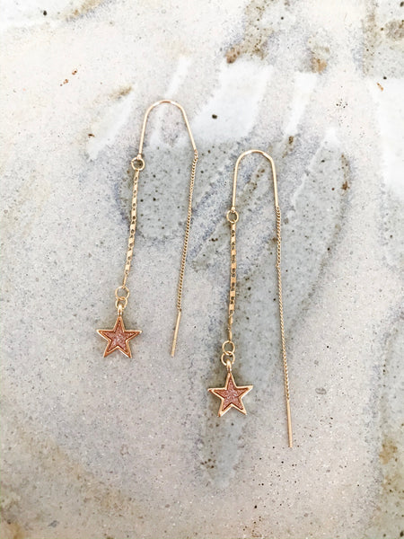 Star Chain Pull Through Earrings - NIKNIK'S BOUTIQUE