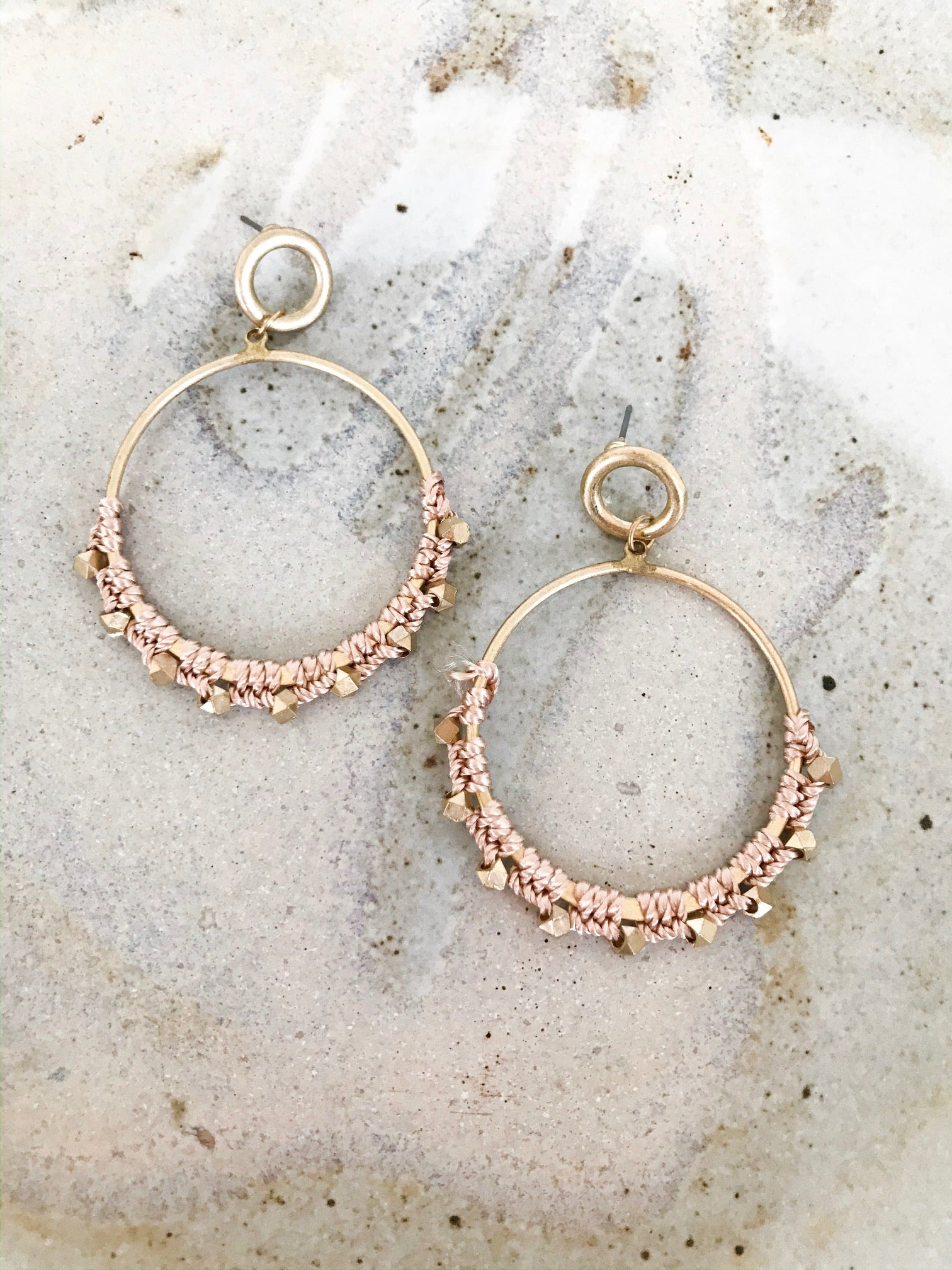Pink and Gold Macrame Hoop Earrings
