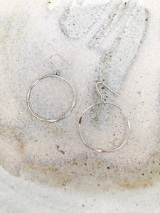 Tiny silver dangle hoop earrings