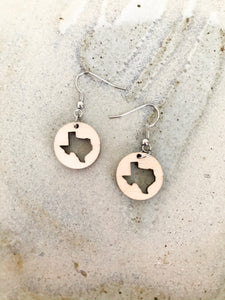 Laser-cut wooden Texas shaped dangle earrings