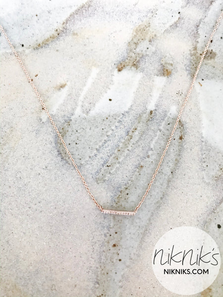 Rose Gold Pave Crystal Bar Necklace - NIKNIK'S BOUTIQUE