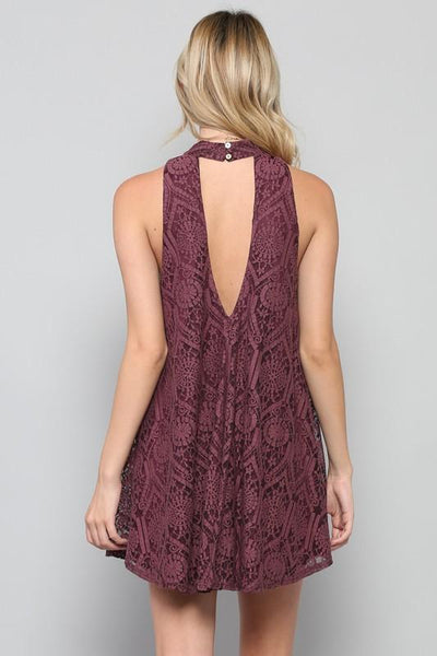sleeveless halter cutout back swing dress - plum