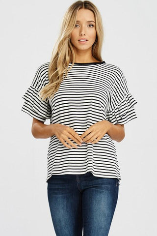 Black/White Ruffle Sleeve Striped Tee