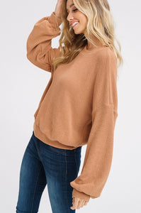 Camel Bubble Sleeve Top