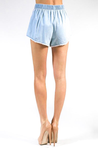 Elastic Waist Chambray Shorts
