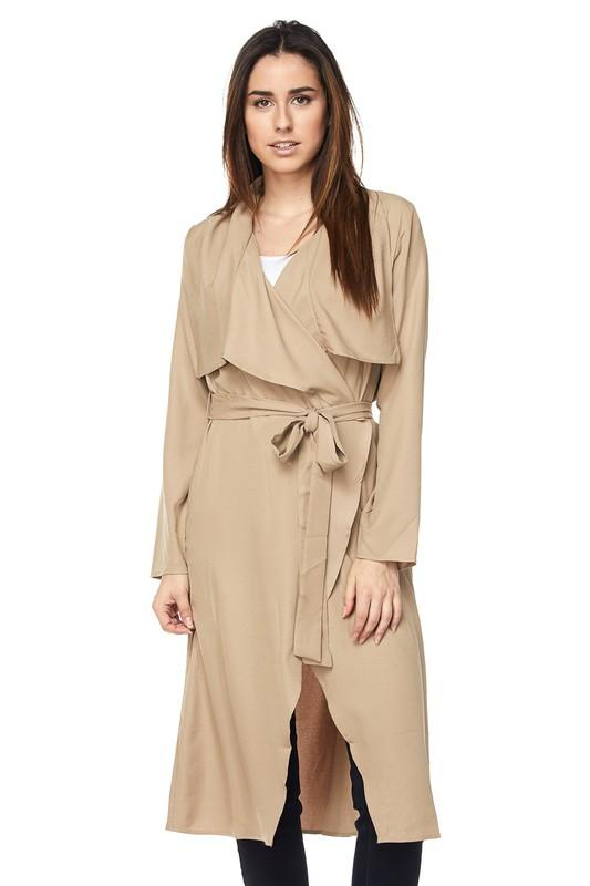lightweight tie waist trench jacket or duster - khaki