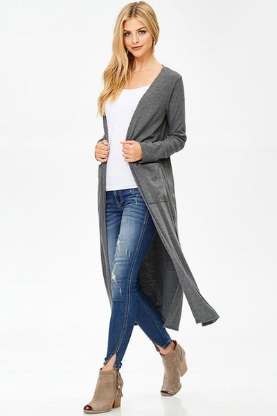 Long Charcoal Duster Cardigan