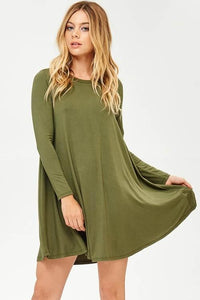 Long Sleeve Olive Swing Dress - NIKNIK'S BOUTIQUE