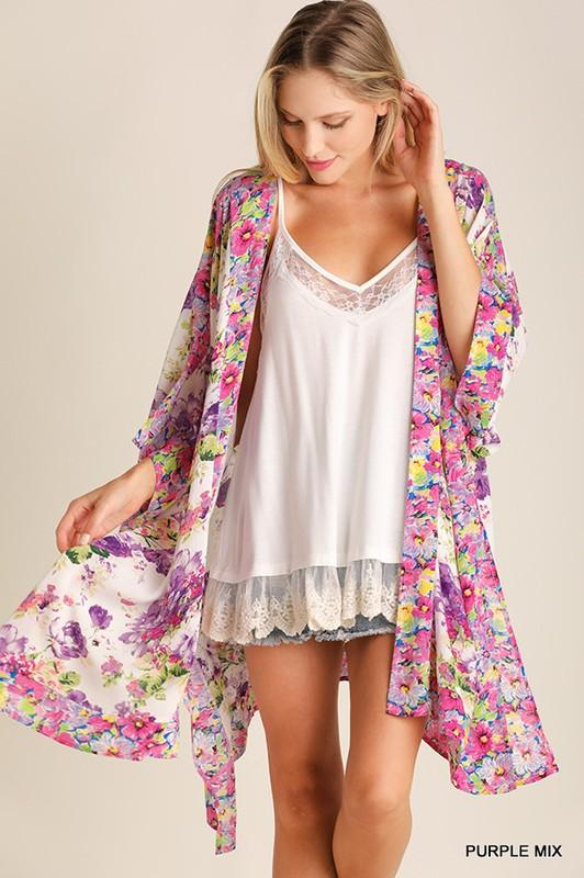 Pink Lightweight Floral Kimono