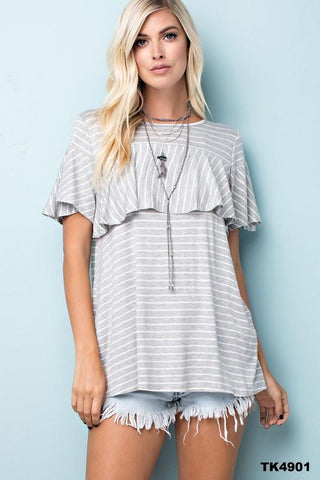 Gray and White Striped Ruffle Top