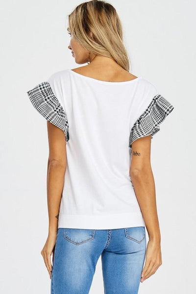 Plaid Sleeve White Top