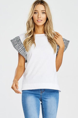 Black and White Gingham Ruffle Sleeve Shirt