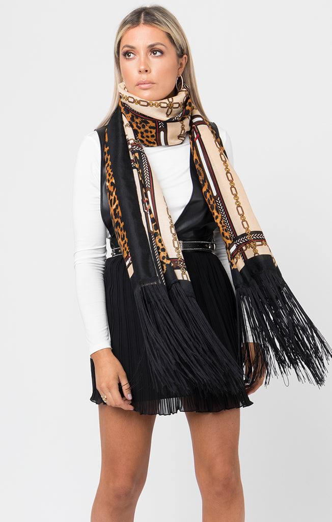 Annika Scarf – Black/Camel Leopard-Scarf-Mermaid Cove