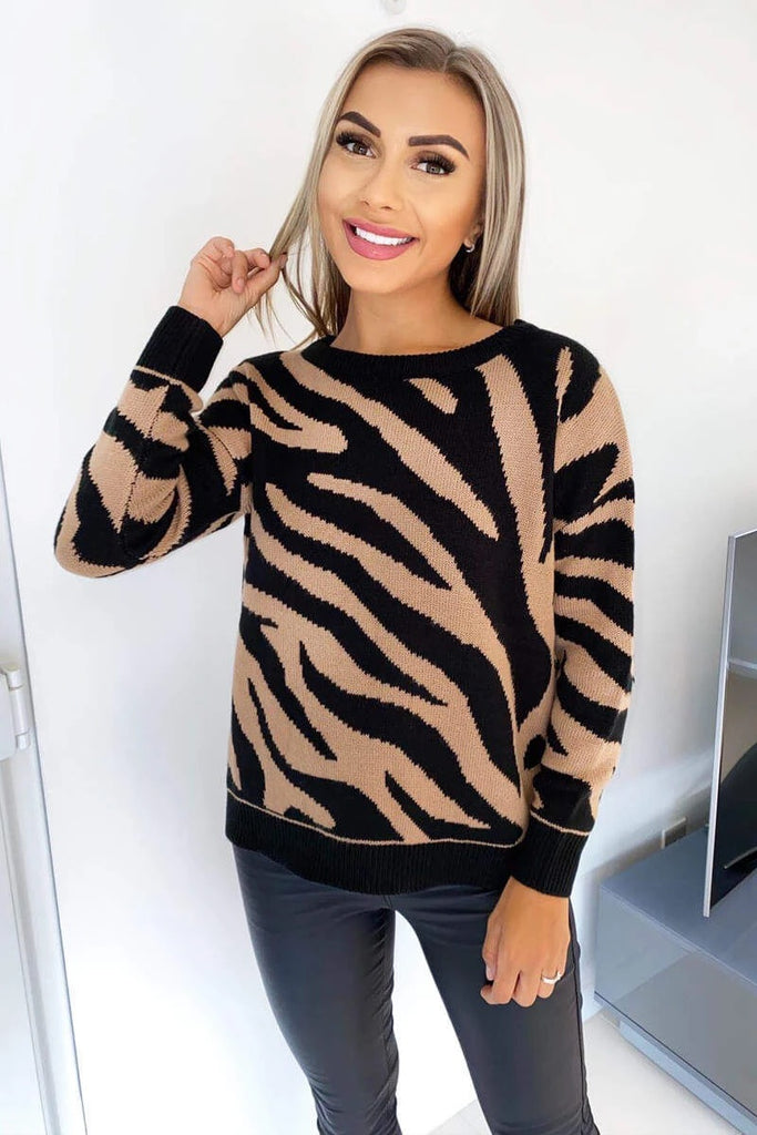 Zebra Knitted Jumper Camel-JUMPER-Mermaid Cove