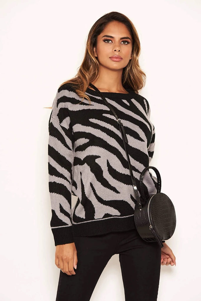 Zebra Knitted Jumper Grey-JUMPER-Mermaid Cove