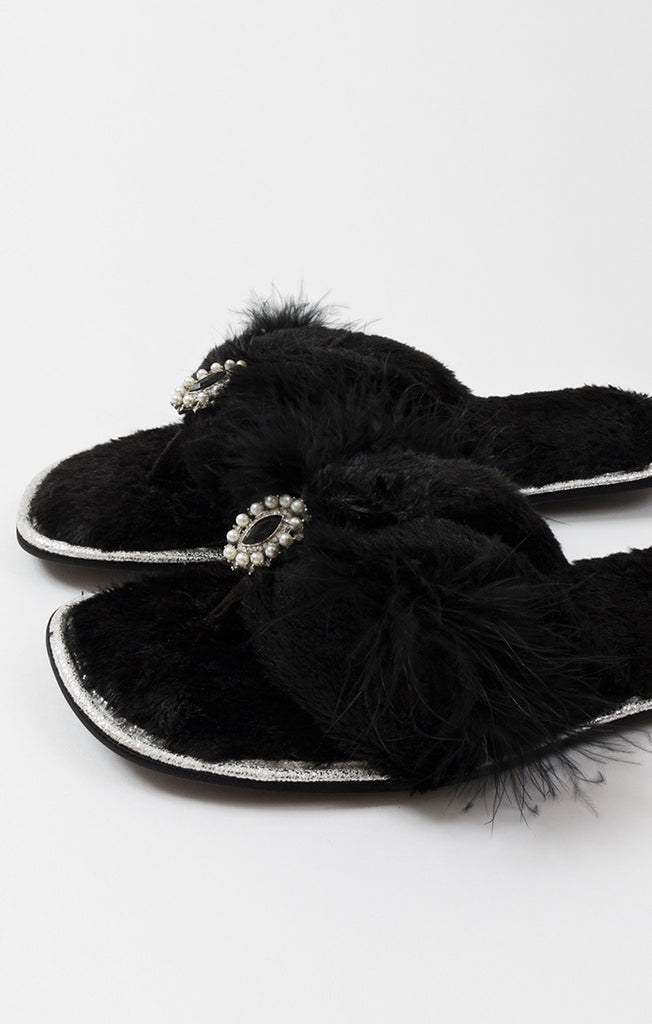 Zoe Slippers – Black-Slippers-Mermaid Cove