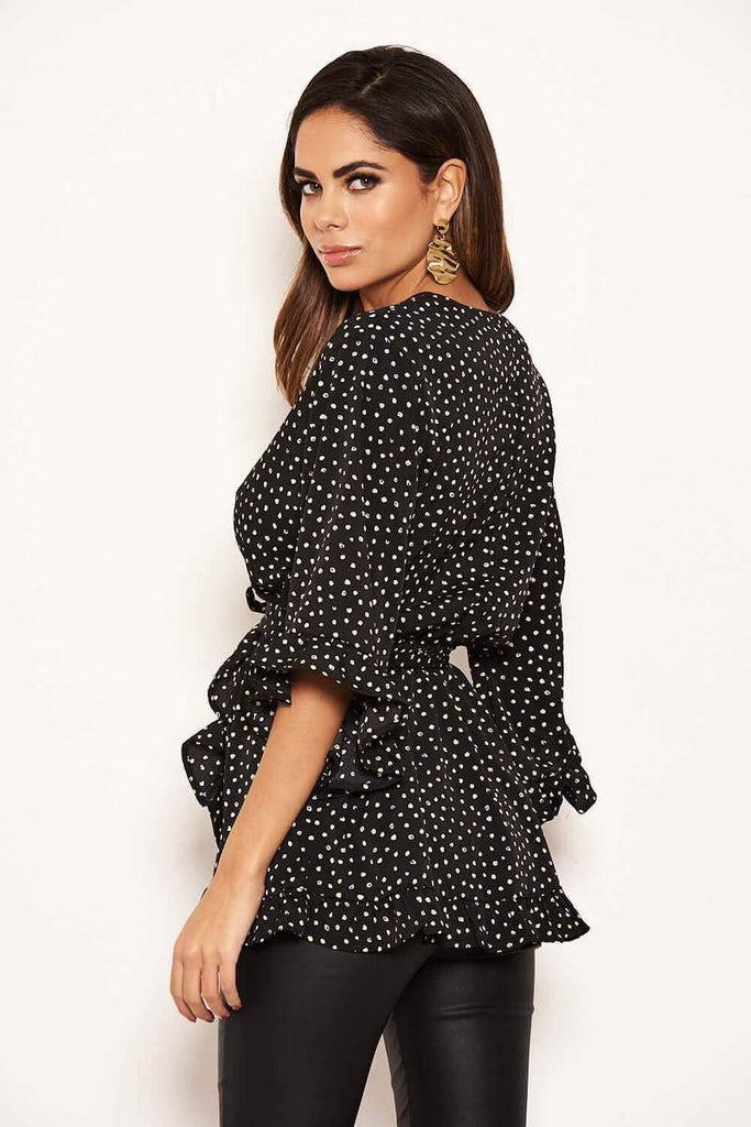 AX Paris Black Frill Spotted Wrap Top-Mermaid Cove
