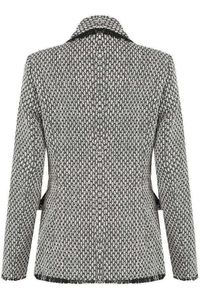 TWEED SHAWL LAPELS DOUBLE BREASTED BLAZER-Blazer-Mermaid Cove