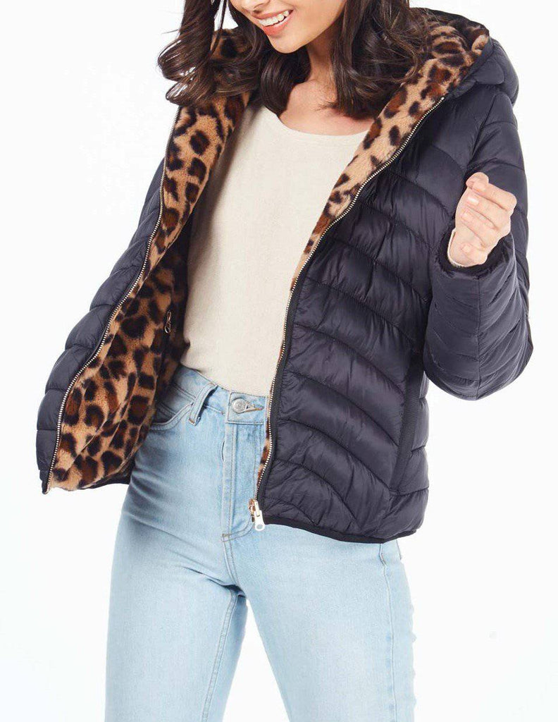 Amelie Reversible Animal Fur And Puffer Jacket-Jacket-Mermaid Cove