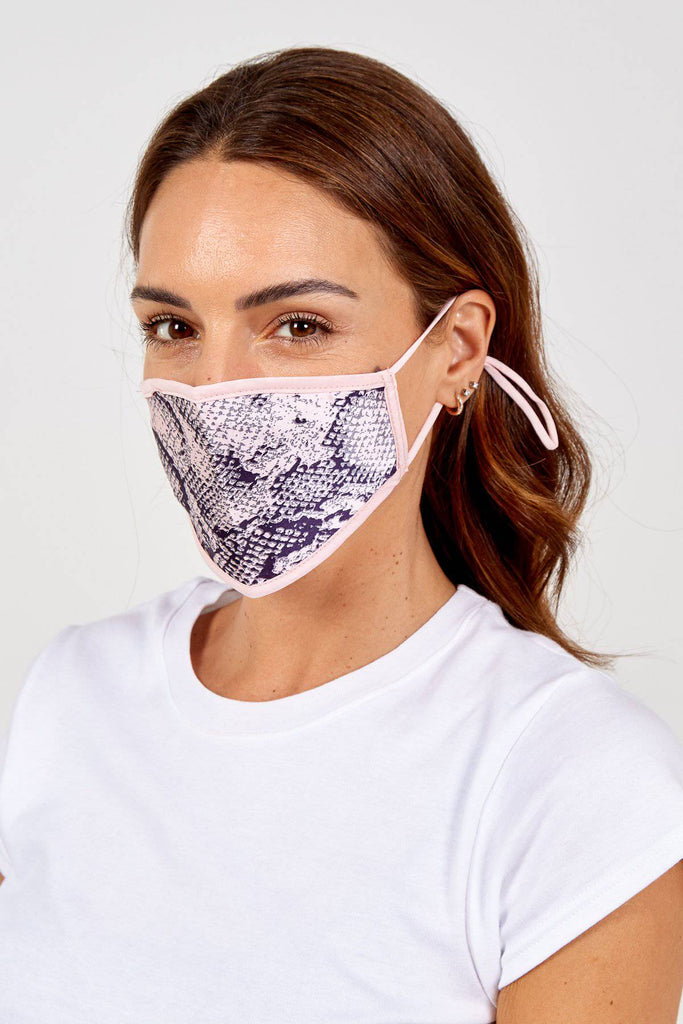 Lucy Abstract Pink Snake Print Reversible Fashion Mask-Mask-Mermaid Cove