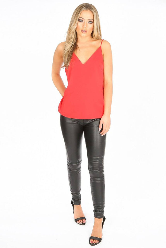 Danni V Neck Cami Tops Red-Top-Mermaid Cove